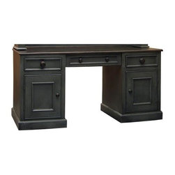 British Traditions - 2 Drawer Castletown Desk (French Grey) - Finish: French Grey. Each finish is hand painted and actual finish color may differ from those show for this product. Simple country desk. 2 Cabinets. 1 Drop-front keyboard drawer. 2 Side drawers. Back has unfinished exterior. 60 in. W x 24.5 in. D x 30 in. H (148 lbs.)This unit is similar in style and construction to the 152B Cotswold Sideboard. Above this space is a drop-down keyboard pullout drawer. The side base cabinets can hold files, books, or other office essentials.