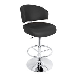 "Lumisource - Regent Bar Stool, Black - 19"" L x 19"" W x 41 - 46"" H"