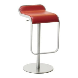 LaPalma - Lem Piston Barstool Red Leather - Our authentic Lem stool is designed by Shin and Tomoko Azumi, and Made in Italy by LaPalma. The popular LEM piston stool effortlessly blends sculptured form with convenient swivel and height adjustable functions. Its highly original shape offers an uncluttered atmosphere when several stools are grouped together.