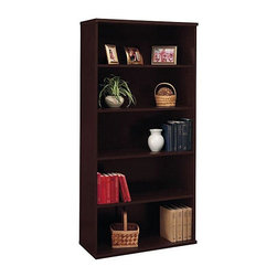 Bush Business - 5-Shelf Bookcase in Mocha Cherry - Series C - This is sleek, elegant and versatile. A bookcase done in mocha cherry finishing is the perfect place to organize your vintage novels or shoe pieces or family photographs. Two fixed shelves impart an unusual stability and three adjustable shelves provide great flexibility. Dress up your office with the Open Double Bookcase ��� Cameo featuring a durable mocha finish. For keeping the company books private, a lower door kit can be added. * Two fixed shelves for stability. Three adjustable shelves for flexibility. Bottom and Center shelves are fixed. Matches 71 in. Hutch in height and depth. Accepts Half-Height Door Kit in lower position. Mocha Cherry finish. Item ships ready for easy assembly. 73 in. H x 35 in. W x 15 D in.