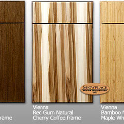 Showplace Cabinets: Vienna style | Exotic species - Offered on vertical-grain Vienna and horizontal-grain Horizon veneered slab doors, our Exotic woods include zebrawood, wenge, bamboo and American red gum. Exotic doors and drawer headers are paired with select maple and cherry face frames and components for a great balance of exotic appeal and real-world value.