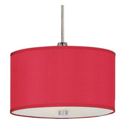 ET2 Lighting - Elements Rapid Jack Mini Drum Pendant by ET2 Lighting - Grouped with others or all on its own, the ET2 Elements RapidJack Mini Drum Pendant adds clean design and welcoming light. The drum-shaped shade (available in two sizes) can be covered in four fabrics, each with its own very distinctive texture. Compatible with any of the RapidJack canopies. For mounting options, see below. ET2, headquartered in California, offers a range of contemporary lighting fixtures and chandeliers that utilize crisp and clean glass styles and bright metal finishes to enhance modern and contemporary interiors. ET2 is a division of the Maxim Lighting Group.