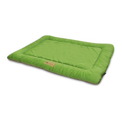 P.L.A.Y. - P.L.A.Y. Chill Pad Pistachio X Large - The P.L.A.Y. chill pad is a light and an extremely long lasting pad for your dog to sleep and rest on. The pad can be conveniently thrown at any spot in your home and being filled with an eco-friendly fiber, the pad is very safe for the environment, not to mention your dog. This chill pad is made keeping in mind the highest quality standards and it can be machine washed whenever needed.  Designed to fit most standard pet crates. Tough, durable construction ensures dog-years of use. Filled with the perfect amount and density of high-loft PlanetFill filler.  filler is made from 100% post-consumer certified-safe recycled plastic bottles. 4 edges ensure optimum elevated comfort for your pooch to rest its head on. Machine washable and dryer friendly. Made in a facility that meets the strict quality standards for infant and children products. Momo-approved and tested by her four-legged friends.