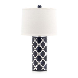 Jill Rosenwald Studio Hampton Links Lamp - I just love the geometric lattice print on this lamp - it's like a Greek/Moroccan mash-up, and on a cylinder with a perfect finial, it's an eye-catcher!