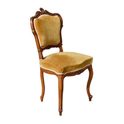 """Consigned Louis XV Walnut Vanity / Side Chair France - Hand carved Louis XV style 19th century occasional side chair, perfect size for the vanity. All original condition - vintage mustard color mohair fabric in the very good condition for its age, chair is very sturdy. Seat high is 19 ½"""""""
