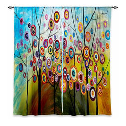 "DiaNoche Designs - Window Curtains Unlined - Lam Fuk Tim Abstract Blossom II - DiaNoche Designs works with artists from around the world to print their stunning works to many unique home decor items.  Purchasing window curtains just got easier and better! Create a designer look to any of your living spaces with our decorative and unique ""Unlined Window Curtains."" Perfect for the living room, dining room or bedroom, these artistic curtains are an easy and inexpensive way to add color and style when decorating your home.  The art is printed to a polyester fabric that softly filters outside light and creates a privacy barrier.  Watch the art brighten in the sunlight!  Each package includes two easy-to-hang, 3 inch diameter pole-pocket curtain panels.  The width listed is the total measurement of the two panels.  Curtain rod sold separately. Easy care, machine wash cold, tumble dry low, iron low if needed.  Printed in the USA."
