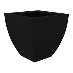 Monaco Planter - Black, Small - Create a garden oasis with the stylish appeal of the Monaco Planter. Featuring strong lines and vivid custom coloring, this garden container will help transform any indoor/outdoor space. This modern patioplanter is made from a non-toxic food grade polymer based fiberglass resin; it will never rot, mildew, split, cup or warp. It can brave brutal summers and harsh winters without diminishing in appearance. These attributes are backed up by a lifetime warranty against corrosion. Whether exposed to salt water, or the everyday wear & tear from home or commercial use, its gel coat maintains a beautiful finish no matter how tough the conditions get.