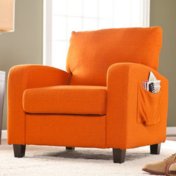 Upton Home - Upton Home 'Ashton' Orange Upholstered Arm Chair - Bring a sunny pop of vivid color into your home decor with the comfortable Ashton arm chair. Upholstered in bright orange fabric,this modern chair features outer side pockets for storing books,magazines,remotes and more.