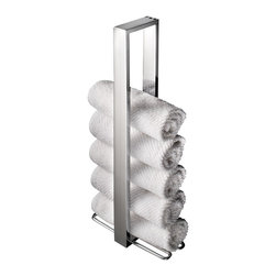 WS Bath Collections - WS Bath Collections Skuara Vertical Towel Holder - Too many towels? No such thing. Now you can keep an ample supply on hand —  even in a small bathroom — with this sleek vertical stand. All you've got to do is roll 'em and rack 'em.