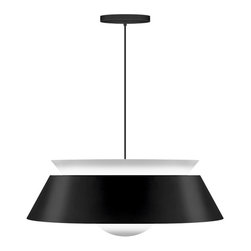 """VITA - Vita Cuna Matte White Pendant, Matte Black, 15""""d X 6""""h, Max 60 W or Cfl/Led - Cuna combines sculptural details with soft diffused lighting. Made from powder-coated steel with all"""
