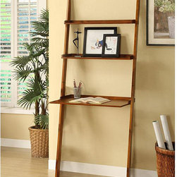 None - Mahogany 3-tier Leaning Laptop Shelf - Display your photos and other decorative items on the shelves of this leaning ladder laptop shelf while you keep your laptop on the workspace. This solid wood piece features a mahogany finish and durable construction to make this desk unique.