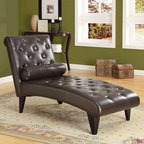 Monarch - Monarch Tufted Faux Leather Chaise Lounger - Dark Brown - I 8033 - Shop for Chaises from Hayneedle.com! For a dash of majestic luxury add the Monarch Tufted Faux Leather Chaise Lounger - Dark Brown to your home collection. You'll find its padded surface a welcome relief from the day's hardships and its elegant tufted dark brown faux-leather a worthy companion to any other leather or dark wood pieces in your decor. Its sturdy frame is made from solid hardwood meaning this contemporary-style piece isn't just for show. A matching cylindrical accent pillow is also included with the piece.About Monarch SpecialtiesWilbur Berger established Monarch Glass in 1950 on Rachel Street in Montreal providing quality custom mirror and glasswork for both retail stores and the home. Understanding that there was more business with glass Monarch started manufacturing and then diversified to importing mirrors and frames. Currently the company is centered in Quebec where it is a leader among furniture importers and distributors focusing on fashion forward designs and impeccable customer service.