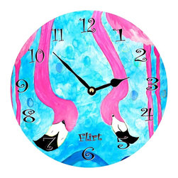 USA - Flamingo Flirt Wall Clock - Enjoy passing time with my dye sublimated art work on a beautiful 11.25'' hard board clock with a wonderful glossy finish. Clocks are a durable 1/4 '' thick and require a AA battery not included. Made in the USA.