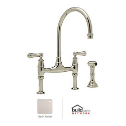 "Rohl - Rohl U.4719L-STN-2 Satin Nickel Perrin and Rowe Perrin and Rowe Low - Perrin and Rowe Low Lead Bridge Kitchen Faucet with Side Spray with Metal Lever HandlesRohl's Perrin & Rowe collection provides the opportunity to showcase the Victorian theme throughout the home. Design elements like ample scrolling and generously arced spouts define the Victorian theme, augmented by solid brass construction and a wide variety of finish options. Rohl's Perrin & Rowe collection features stylish and high-quality faucets for the kitchen and bathroom, allowing you to carry the theme from room to room.Rohl U.4719L-2 Features:All brass faucet body construction - weight: 7 lbs.Hand-machined from solid brass stockIndustry leading, 1/4 turn lifetime ceramic disc valveSuperior finishing process – chemical, scratch, and stain resistantNumber of installation holes required: 3Insulated brass side spray (not plastic)Spout swivels to allow for unobstructed sink accessInstalls onto decks up to 1-5/8"" thickMetal lever handles includedOverall height: 16-3/8"" (measured from counter top to highest point of faucet)Spout height: 10-7/8"" (measured from counter top to faucet outlet)Spout reach: 8-7/8"" (measured from center of faucet base to center of faucet outlet)Low lead compliant – complies with federal and state regulations for lead contentDesigned for use with standard U.S. plumbing connectionsExtra secure mounting assemblyAll necessary mounting hardware includedFully covered under Rohl's limited lifetime warrantyManufactured in New Zealand, Western Europe, and/or North AmericaAbout Rohl:Excellence, durability, and beauty. Family values, integrity, and innovation. These are all terms which aptly describe Rohl and its remarkable selection of kitchen and bathroom faucets and fixtures. Since 1983, Rohl has maintained a commitment to providing high-quality pl"