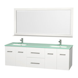 Wyndham Collection - 72 in. Bathroom Vanity Set - Includes two square porcelain undermount sink and matching mirror with shelf. Faucet not included. Two functional drawers and four doors. Plenty of storage and counter space. Single faucet hole mount. Green glass top. Engineered to prevent warping and last a lifetime. 12 stage wood preparation, sanding, painting and finishing process. Highly water resistant low V.O.C. sealed finish. Unique and striking contemporary design. Modern wall mount design. Deep doweled drawers. Fully extending under mount soft close drawer slides. Concealed soft close door hinges. Made from solid oak hardwood. White and brushed chrome exterior hardware finish. Vanity: 72 in. W x 22.25 in. D x 22.75 in. H. Mirror: 70 in. L x 33 in. H. Care Instruction. Assembly instructions - Vanity. Assembly instructions - Counter Top. Assembly instructions - Undermount Sink. Assembly instructions - MirrorSimplicity and elegance combine in the perfect lines of the Centra vanity by the (No Suggestions) Collection. If cutting edge contemporary design is your style then the Centra vanity is for you modern, chic and built to last a lifetime. You'll never hear a noisy door again! The attention to detail on this beautiful vanity is second to none.