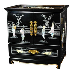 Oriental Furniture - Empress Lacquer Jewel Box (Black) - This elegant lacquered jewelry box was handcrafted by artisans in the Guangdong province of mainland China. The excellence of their craft is evident in the delicate mother of pearl village scene, the carefully fitted carpentry, and the rich, smooth lacquer finish. The doors open to reveal four additional felt lined drawers and hooks for hanging your pendants and necklaces.