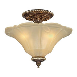 Elk Lighting - Elk Lighting 11553/3 Allesandria Traditional Semi Flush Mount Ceiling Light - Elk Lighting 11553/3 Allesandria Traditional Semi Flush Mount Ceiling Light in Burnt Bronze/Weathered Gold Leaf. The Alessandria collection features majestic open work detailing in the French baroque style. The frame has a multi-step finish of burnt bronze with weathered gold leaf accents. The scalloped glass displays an elegant tapered shape with an antique amber finish.