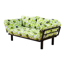 Kodiak Furniture - Spacely Futon Lounger in Full Circles - The fresh and fun, the Spacely Futon Lounger can enliven even the most boring interior and turn it into a new and comfy place for relaxing. The futon includes metal frame in black finish with five position adjustable side arms and mattress in Full Circles finish cover. High density foam provides the highest level of comfort. The futon is made of only quality materials to serve you for years to come.