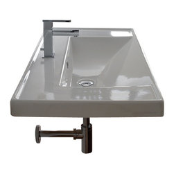 Scarabeo - Rectangular White Ceramic Self Rimming or Wall Mounted Bathroom Sink, No Hole - Rectangular white ceramic self rimming or wall mounted sink. Stylish sink comes with overflow and no hole, one hole or three hole options. Made in Italy by Scarabeo.