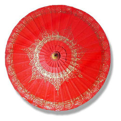 Oriental-Decor - Red Traditional Thai Umbrella - This marvelous traditional Thai umbrella is similar to those used to shade the Siam kings and queens of the past centuries. Use this fashionable umbrella to shade against the sun or for a royal decorative effect in any room.