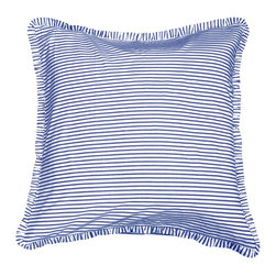 None - Blue/White Ticking Euro Sham - This stylish blue Euro sham provides the perfect way to add a splash of color to your decor. Featuring a handsome stripe pattern and a classic square shape, this versatile sham works well with a range of different environments and decorative themes.