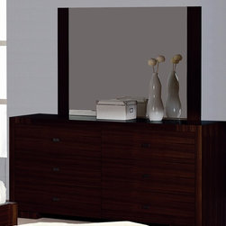 """Beverly Hills Furniture - Alpha Bedroom Dresser & Mirror Set - Includes dresser and mirror. Oak veneer in wenge finish. Easy """"no-tool"""" assembly. Dresser: 20 in. W x 64 in. L x 32 in. H. Dresser Mirror: 2 in. W x 50 in. L x 35 in. HCrafted from carefully selected solids and teak veneers, the Alpha Bedroom Dresser & Mirror set offers excellent workmanship in a contemporary package. Fully finished at the factory with full extension, ball-bearing tracks that offer smooth, everyday use.  The handle trims brushed nickel to complete the contemporary look for your bedroom."""