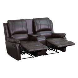 Flash Furniture - Flash Furniture Brown Leather Pillowtop 2-Seat Home Theater Recliner - Complete your theater room with this comfortable theater style seating. The soft leather will keep you comfortable as you sit down with friends and family for movie night or while playing video games. You can setup as many rows as needed to fill up your desired space.
