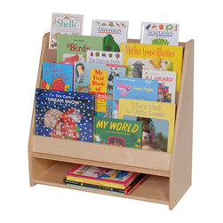 Steffywood - Steffywood Home School Classroom Toddler Book Display Stand - Unit has four book shelves with storage area at bottom.  Eleven ply, 15mm thick all birch veneer panels.  Sturdy dowel construction.  Tough clear UV finish.