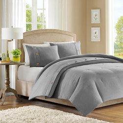 Madison Park - Madison Park Waffle 3 Piece Comforter Set - The Madison Park Waffle collection will provide your room with a clean, pure look. The comforter and sham features a light grey jacquard pattern that is woven into a waffle pattern. The waffle pattern is pieced with a light grey band strapping with button details. This comforter mini set will make room feel modern and clean. Comf and sham face: 100% polyester Jacquard waffle, Backing is brushed micro fiber 75gsm fabric solid; Comf filling: 200gsm poly fill.