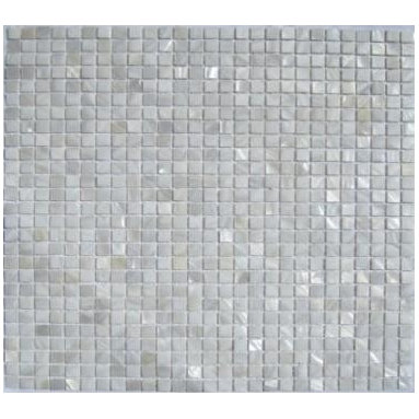 """White Mother of Pearl 3/8"""" x 3/8"""" Micromosaic Squares  Tile - Mother of pearl tiles add new and unique elegance to your bathroom, backsplash, headboard, and more. Our Mother of Pearl tiles are handmade from genuine natural freshwater pearls. Although Mother of Pearl tiles are naturally thin, they are very strong and durable as well as easy to install in kitchens, bathrooms, and pools."""