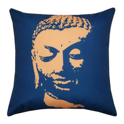 DD - Buddha Outdoor Pillow, Blue - Experience a sense of zen and serenity with this Buddha outdoor pillow.