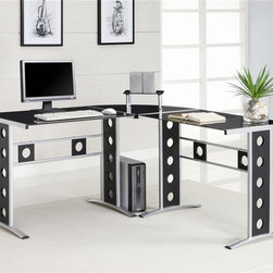 Coaster - Modern L-Shape Desk - Sleek silver colored frame. Black glass top. 59 in. W x 23.5 in. D x 29.5 in. H. WarrantyCreate a cool, contemporary work station in your home with this L-shape desk. This desk will bring just the right pop of modern personality into your decor. Cutout circles create a visually appealing pattern on the desk legs and the back panel. There's plenty of space to spread out on the L-shape tabletop, so a computer, your workbooks and personal touch or two will all comfortably fit. Ultra edgy and fantastically purposeful, this L-shape desk will make a wonderful addition in any contemporary home.