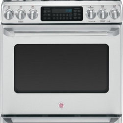 """GE Cafe - C2S985SETSS 30"""" Freestanding Dual-Fuel Range with 5 Burners  5.4 cu. ft. Capacit - The GE Cafe C2S985SETSS 54 Cu Ft dual-fuel convection range features a 20000 BTU tri-ring burner a center oval burner and a warming drawer The oven capacity is self-cleaning and offers a black gloss oven interior adding a stylish touch to the kitchen..."""