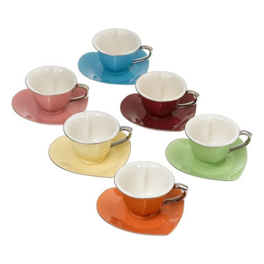 Yedi Housewares - Inside Out Heart Cup & Saucer - Assort/Platinum (Set of 6) - The Inside Out Heart Collection are a whirlwind of femininity and fun. A perfect gift for a bridal or baby shower or to enjoy a wonderful High Tea with the ladies. The cups and saucers are heart shaped which offers a whimsical twist to the collection. Fine Porcelain. Comes in its own Satined-lined hatbox with elegant and pretty artwork. Hand Wash.