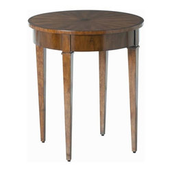 """Arteriors - Arteriors Home 5332 Geneva Starburst Star Inlay Veneers Table - Three-legged claw footed resin occasional table in gloss white lacquer finish. Features: Geneva Collection TableHidden DrawerWalnut Finish Some Assembly Required. Dimensions: H 26"""" x 22 3/4"""" Dia"""