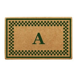 Creative Accents Heavy Duty Coir Mat Checker Border with Monogram - A classic checkerboard design creates a simple yet elegant border on the Nedia Enterprises Heavy Duty Coir Mat Checker Border with Monogram. Crafted from naturally harvested coir fibers, this mat is hand woven using traditional looms and then sheared to create a dense pile that helps to clean shoes and trap dirt and moisture. It's hand-tufted fibers and heavy coir fiber backing also helps to keep the mat in place and locks the fibers in place to minimize shedding. Fade-resistant dyes are used so you can enjoy the vibrant colors and pattern for years. Coir is a renewable resource and the mat is completely biodegradable and compostable. Best used in sheltered areas, such as a covered porch, this mat can cause color transfer to natural stone, concrete, and other surfaces if it's excessively exposed to the elements. Naturally mold- and mildew-resistant, this gorgeous mat will have some slight variations in size, color, and texture, giving each mat its own unique characteristics. It's also normal for the mat to shed fibers during the first few weeks it's used. Optional monogramming is available. Additional Features Coir fibers are a renewable resource Mat is biodegradable and compostable Designs are hand stenciled on the mat Made with fade-resistant dyes Best used in sheltered areas Avoid exposure to extreme moisture and sunlight Excessive exposure can cause color transfer Variations in size, color, and texture are normal Mat will shed fibers the first few weeks Clean by occasionally giving a good shake Optional monogramming is available Can be used indoors or out