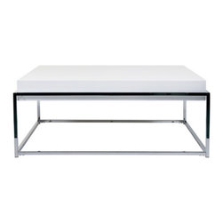 Elevate Coffee Table - Work some living room magic with this coffee table that radiates effortless style. With its stunning combination of high-gloss lacquer and chromed steel, it's a durable piece that will bring dynamic modernism into any decor.