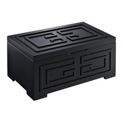 Powell - Powell Enna Black Jewelry Box X-711J-621 - The Enna Black Jewelry Box provides convenient storage for your valuables.  Featuring a Black finish on the outside and a tarnish-resistant grey lining inside, this piece will complement any style decor. The geometric spiral decorations on the front of the box adds eyecatching interest to the piece.  The hinged lid has a mirror on the interior and the large lift-out tray has 8 ring rolls.  Generous open storage space in the bottom is ideal for storing larger accessories.  Sure to be a prized accessory to any bedroom.  Fully assembled.