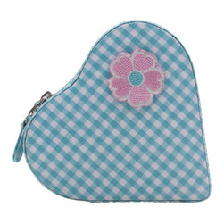 WOLF - Kids Heart Zip Jewelry Case, Turquoise Gingham - The Willow Heart Zip jewelry case makes a great travel companion for any little princess. Inside of this heart shaped turquoise case are two open compartments, an enclosed compartment, and a ring roll; underneath the lid is a mirror.
