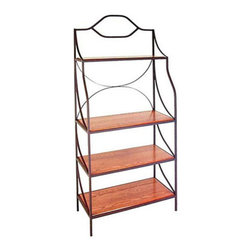 Grace Manufacturing - 36 Inch Contemporary Bakers Rack with 4 Wood Shelves, Gun Metal, Cherry - This wrought iron baker's rack is a great accent piece for any room in your home. It is fully assembled and made from strong solid wrought iron. The CE36GX has proven to be an extremely durable rack. This piece is available in several designer finishes which will compliment any decor and color theme.