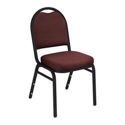 National Public Seating - Dome Back Stacking Banquet Upholstered Chair - You will love the superior design and function of this stacking chair which features an upholstered seat and back combined with steel frame for long lasting style. The black finish and contrasting fabric will go well in any meeting room or as extra seating around your home. Comes in a set of four. Set of 2. 0.88 in. square tube 18-guage black santex steel frame with 0.63 under seat and H-braces. Back has convenient handhold for easier moving and stacking. 2 in thick A foam. Double stitched with spacious. Waterfall seat. Stacking bars and 12 plastic stack bumpers ensure stacking securely without damaging. Steel contains 30-40% of post-consumer waste (recycled). Plastic contains up to 35% of pre-consumer waste. Warranty: Five years for material. Attractive powder coated frame finish. 16 in. W x 16 in. D x 34 in. H