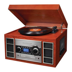 Crosley - Crosley Memory Master II CD Recorder - CR2413A-BK - Shop for Turntables from Hayneedle.com! Record your irreplacable LP record collection to CD without wires weird adapters or anything but a lift of the needle. The Crosley Memory Master II CD Recorder is a sleek redesign of the legendary Memory Master turntable recorder and transfers just about any format onto CD. With Crosley's Memory Master II simply put your LP on the turntable or pop in a cassette. Load a blank CD and press 'record.' Enjoy the music while you wait and poof! Your music is on a CD.Relive the days when record players were the cool currency for all-night rock 'n' roll parties. The three-speed turntable (33-1/3 45 and 78rpm) plays any record so you can record your entire collection. The Memory Master is USB enabled and includes a software suite for editing audio content. The handsome cabinet available in Black or Paprika harkens back to the golden days while getting the most of today's technology.Don't need to record just now? Use the Memory Master II to simply spin records play cassettes and CDs or tune in your favorite station on the analog AM/FM tuner for hours of nostalgic enjoyment.About CrosleyIn 1920 Powel Crosley founded the company that pioneered radio broadcasting and mass market manufacturing around the world starting with a simple radio meticulously crafted with obsessive detail and accuracy and a measure of consideration for the wallet. Today the Crosley name lives on with superb detailed replicas that transcend time. Vintage radios and turntables graced by unforgettable Crosley styling are blended with the latest technology. The Crosley Collection includes AM/FM radios suitcase-style record players multi-functional cassette and CD players jukeboxes music boxes telephones and more. Rich authentic retro designs make Crosley today's premier vintage electronics manufacturer.