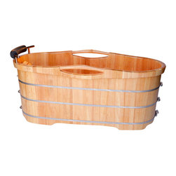 ALFI brand - ALFI brand AB1163 61'' Free Standing Oak Wooden Bathroom Tub with Headrest - Turn any bathroom into an eye catching spectacular with a high end wooden tub. The perfect addition to any log style cabin or winter home. Nothing feels better than crawling into a tub made of wood and filled with steaming hot water. Just lay back and relax, you're in a classic wooden tub. *Ships freight. Customer is responsible for unloading tub from delivery truck.