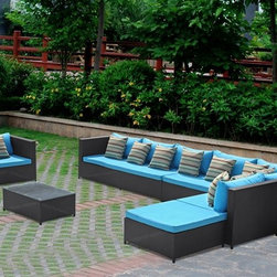 Garden 7 Piece Outdoor Rattan Sofa Set -