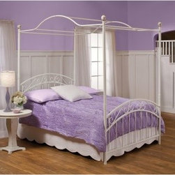 Emily Canopy Bed - She'll adore the classic look of the Emily Canopy Bed. Perfectly powder coated in a long-lasting white finish, this pretty little bed is crafted of durable metal and features bar and scroll detailing as well as round, painted finials. Available in select sizes, this bed also comes with your choice of components. Choose the headboard and footboard only, or select the whole set for a complete look - canopy and all!Headboard Dimensions:Twin: 40W x 1.5D x 54.5H in.Full/Double: 53.5W x 1.5D x 54.5H in.Footboard Dimensions:Twin: 40W x 1.5D x 54.5H in.Full/Double: 53.5W x 1.5D x 54.5H in.About Hillsdale FurnitureLocated in Louisville, Ky., Hillsdale Furniture is a leader in top-quality, affordable bedroom furniture. Since 1994, Hillsdale has combined the talents of nationally recognized designers and globally accredited factories to bring you furniture styling and design from around the globe. Hillsdale combines the best in finishes, materials, and designs to bring both beauty and value with every piece. The combination of top-quality metal, wood, stone, and leather has given Hillsdale the reputation for leading-edge styling and concepts.