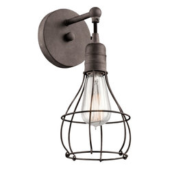Kichler - Industrial Cage Lodge/Country/Rustic 1 Light Wall Sconces ,Weathered Zinc - Specifications: