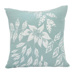 Indochine Peacock Floral Pillow, Sky/White