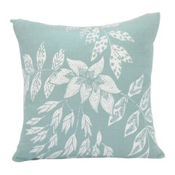 Cricket Radio - Indochine Peacock Floral Pillow, Sky/White - Sink into casual comfort. This handmade pillow features an elegant floral pattern hand-printed in white on sky blue Italian linen. And the 20-inch-square down insert pops out for easy cleaning.