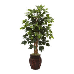 """44"""" Ficus Tree with Decorative Planter - Unlike the real Ficus tree (which is finicky and practically leafless in almost any home light conditions), our Ficus tree is eternally verdant and deep green with 378 individual leaves on natural trunks. Measuring forty four inches in height, this wonderful reproduction Ficus would look lovely in a picture window, home entranceway, or even the office. Complete with a decorative planter this handsome tree is ready to go Height= 44 In. x Width= 21 In. x Depth= 21 In."""