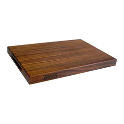 John Boos - 18 in. Reversible Cutting Board in Walnut Fin - John Boos walnut finish cutting board is a must for anyone who loves to cook.  Practical rectangular butcher-block features a super smooth finish for preparing, meats, pastry, and more.  Choose a single unit or multiple items for commercial kitchens or gift-giving. Includes hand grips. 1.5 in. Thick reversible cutting board. Walnut finish